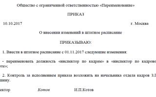 Переименование должности в штатном расписании — порядок действий, уведомление, приказ