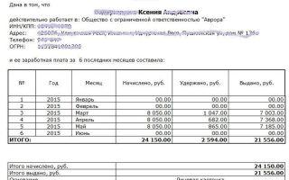Справка о заработной плате (образец) — бланк, форма
