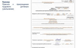 Приказ о расторжении (прекращении) трудового договора — образец заполнения, форма т8, бланк