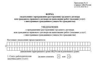 Увольнение иностранного работника — кого уведомлять, как уволить, скачать уведомление (бланк) 2019