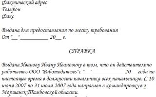 Справка о командировке (образец) — в загс, институт, суд, управляющую компанию