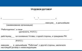 Трудовой договор с физическим лицом (образец 2019)