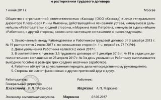 Соглашение о расторжении трудового договора (образец 2019)