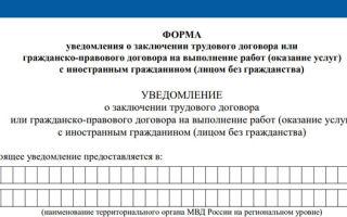 Уведомление о заключении трудового договора — форма, образец заполнения 2019