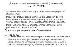 Доплата за совмещение должностей тк рф (2015)