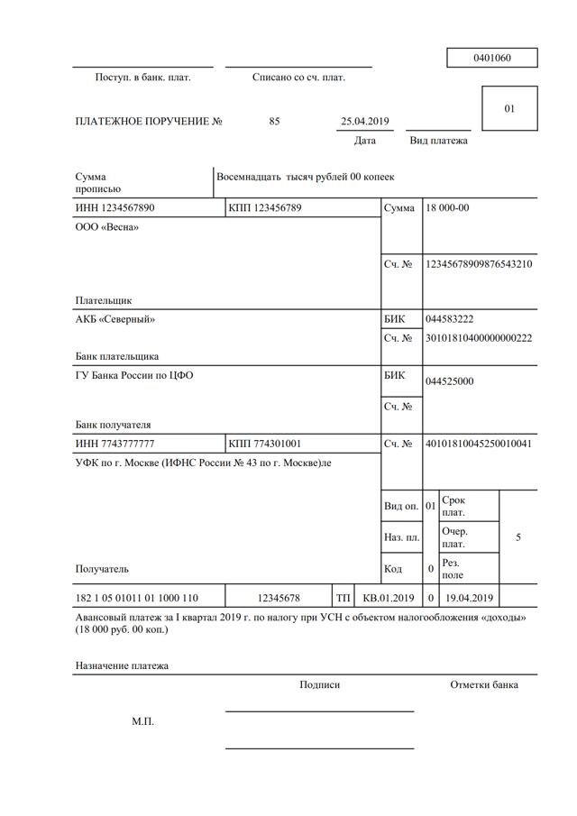 КБК на единый налог при упрощенной системе налогообложения в 2020 году