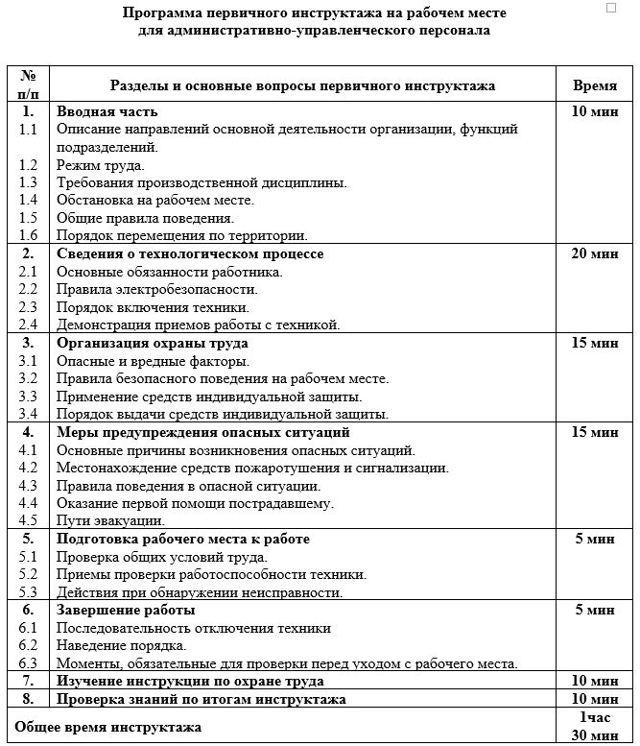 Программа проведения первичного инструктажа на рабочем месте 2020