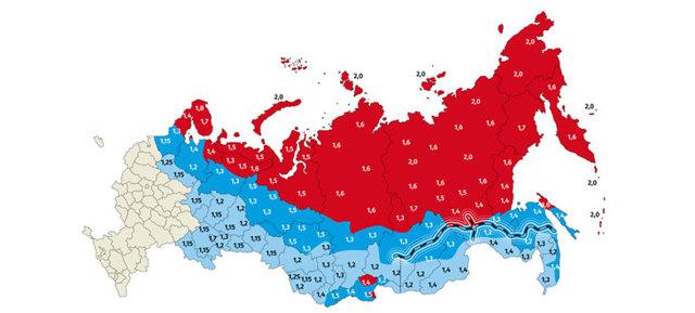 Районный коэффициент по регионам россии 2020 таблица