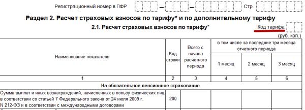 Код тарифа в РСВ (ПФР) 2020