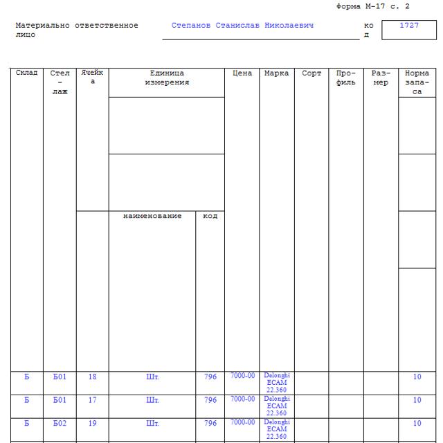 Образец карточки складского учета материалов 2020