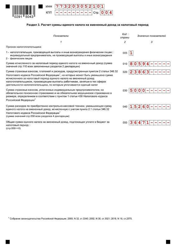 Образец нулевой декларации по ЕНВД для ИП 2020