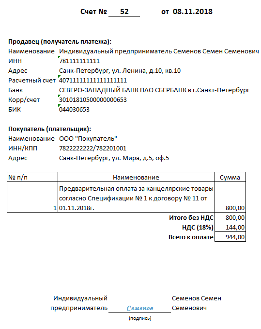 Образец выставления счета на оплату от ИП 2020